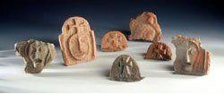 Batch of Merovingian antefixes. Excavation UASD. © E.Jacquot - Document from Saint-Denis Archaeology unit