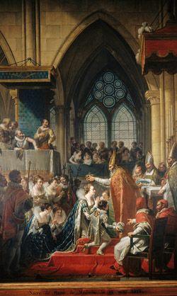Sacre de Marie de Médicis, épouse d'Henri IV, à Saint-Denis, le 13 mai 1610