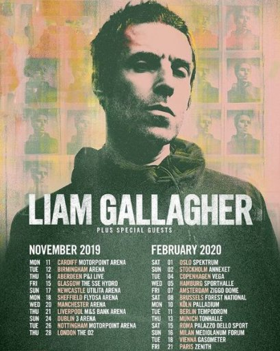 Affiche concert Liam Gallagher au zénith de Paris