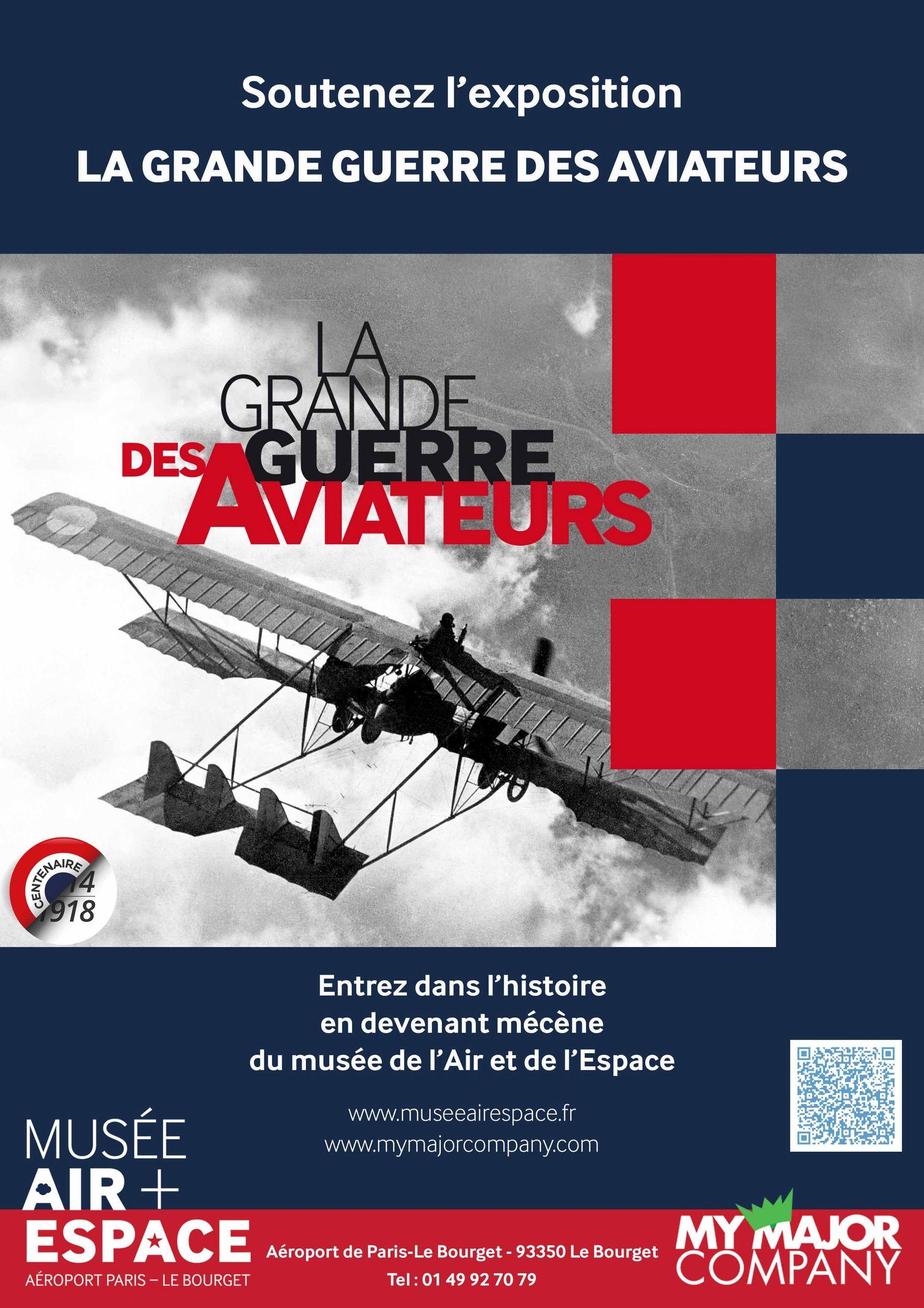 Affiche soutenez l'exposition la grande guerre des aviateurs au musée de  l'Air