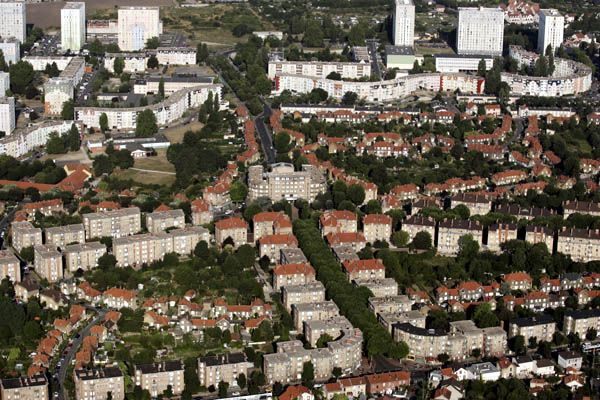 Vue aérienne de la Cité-jardin de Stains