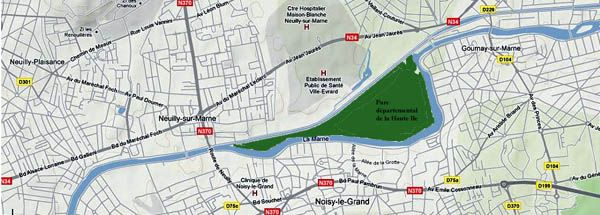 map - La marne, a French river in Ile-de-France