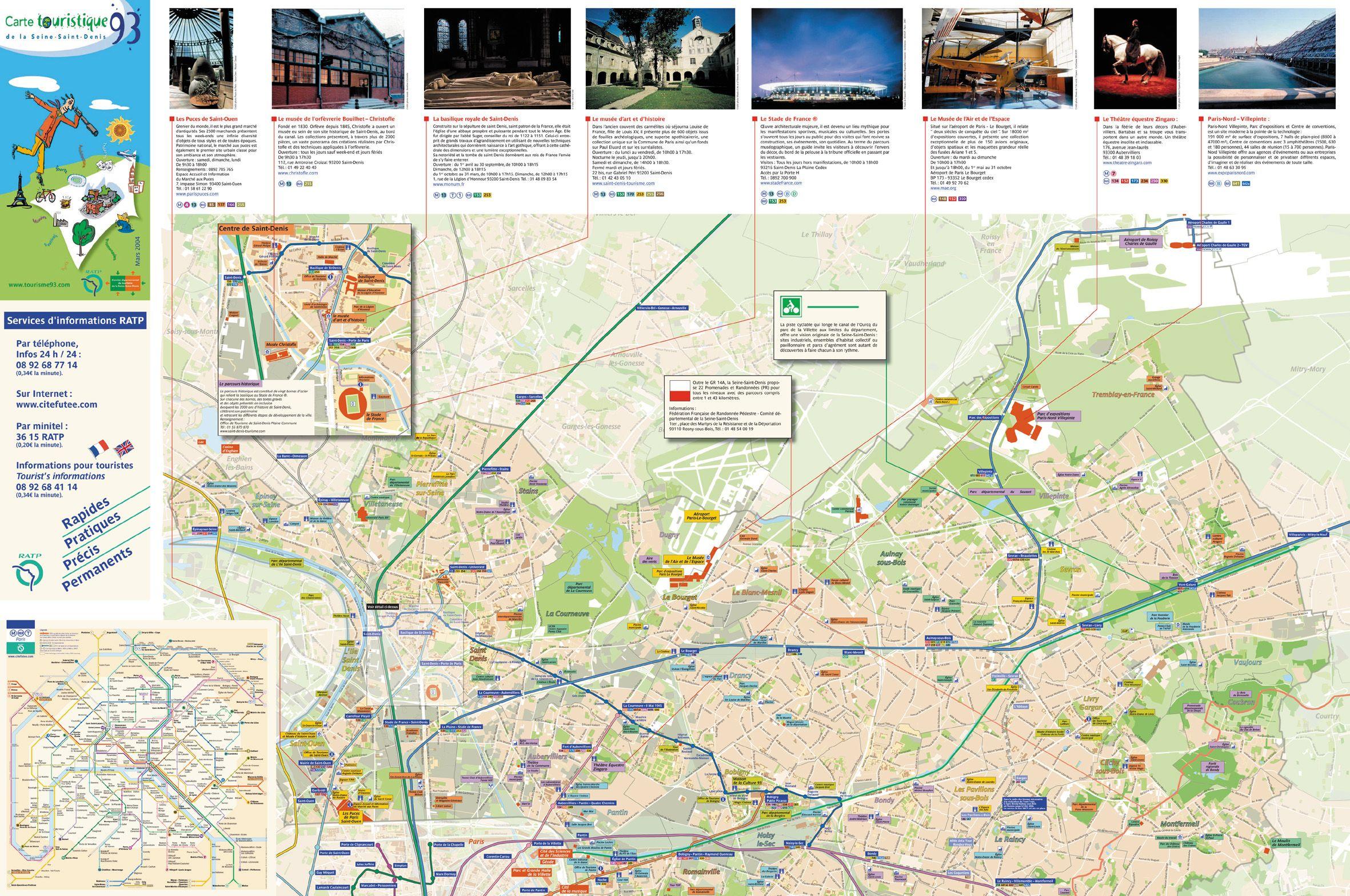 Plan de la seine saint denis 93 et grands sites touristiques - Chambre de commerce seine saint denis ...