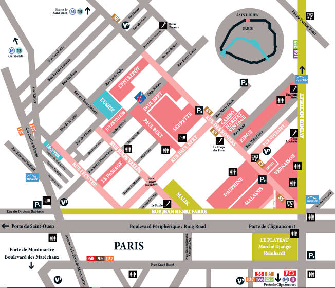 Flea Market map - Saint-Ouen near Paris