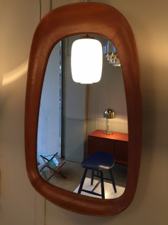 Solid oak free form Mirror, Sweden, 1956