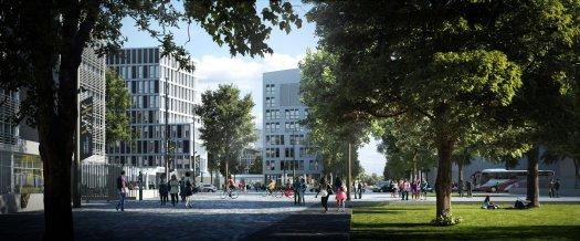 Hôtel à projets, siège de l'INED et bâtiment de recherche au Sud du campus © Mir, Campus Condorcet, 2015