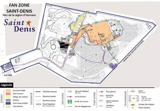 Plan de la fanzone Euro 2016 - Saint-Denis