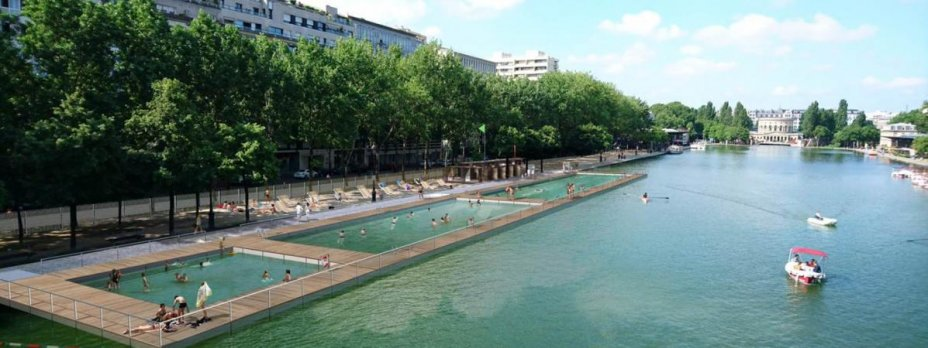 swimming project in Paris Bassin de La Villette