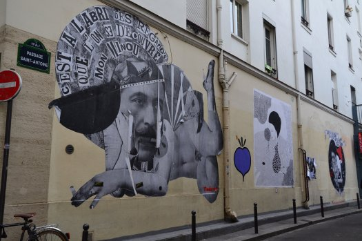 Collages of Madame Chat and Fred Le Chevalier, Passage St-Antoine, Paris 11