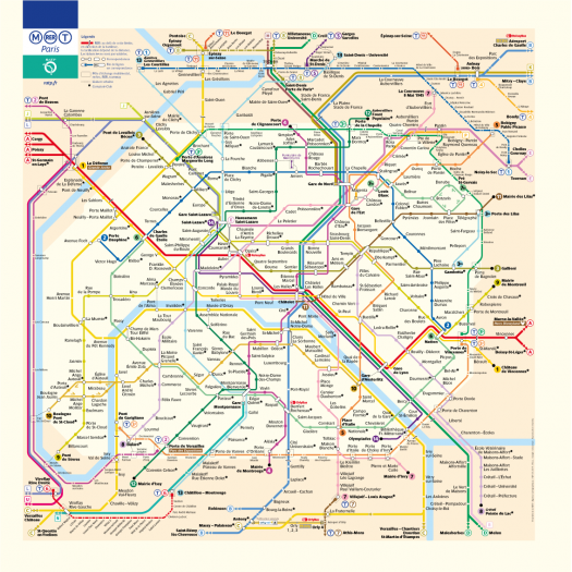 Paris subway, tramway and train map