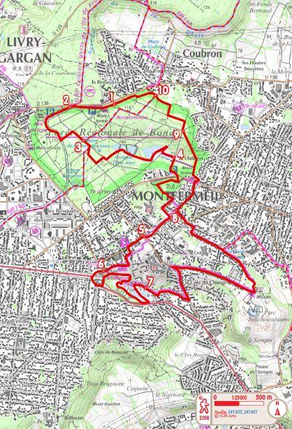 Map of the hiking trail PR19 Cosette in Montfermeil