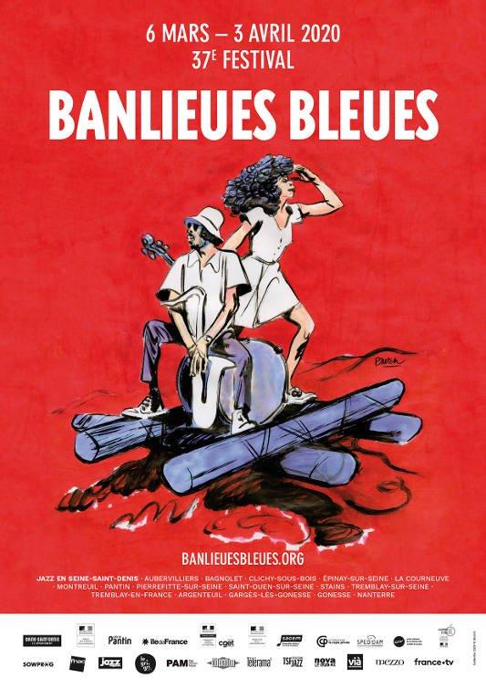 Banlieues Bleues - affiche 2020 par Blutch et belleville.eu