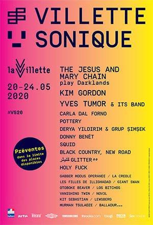 Villette Sonique 2020 - Affiche noms artistes