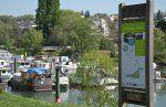Entrée du port de plaisance - panneau des passeurs de Marne