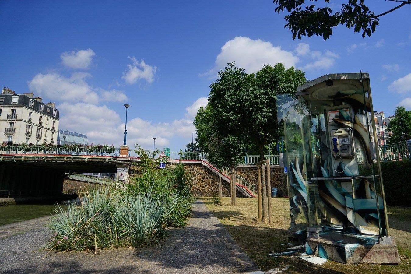 Oeuvre de Djalouz à Pantin canal de l'Ourcq