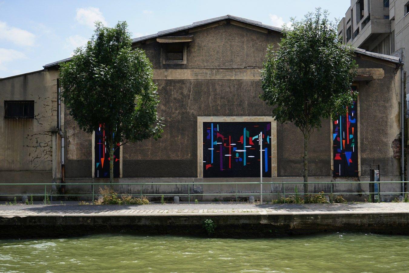 Oeuvre deLN Surfil à Pantin canal de l'Ourcq