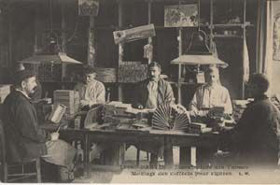 Men workers at the tobacco factory in Pantin